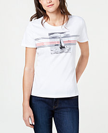 Tommy Hilfiger Striped Sailboat Cotton T-Shirt, Created for Macy's