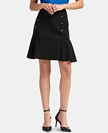 DKNY Button-Detail Peplum Mini Skirt