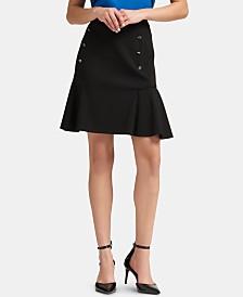 DKNY Button-Detail Peplum Mini Skirt