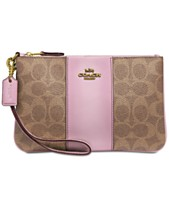 f7d5bb394bfa COACH Colorblock Coated Canvas Signature Wristlet