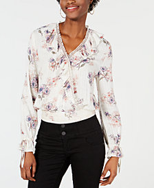 American Rag Juniors' Ruffle Wrap Blouse, Created for Macy's