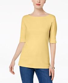 703e563f198 Karen Scott Cotton Elbow-Sleeve Top