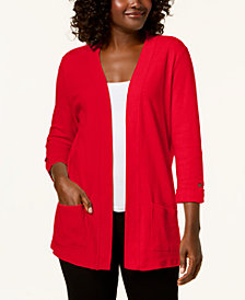 Karen Scott Petite Cotton 3/4-Sleeve Open-Front Cardigan, Created for Macy's