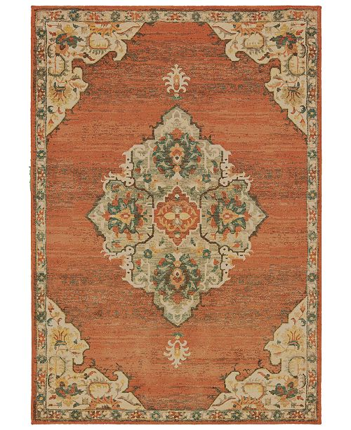 "Oriental Weavers Toscana 9568B Orange/Gray 3'10"" x 5'5"" Area Rug"