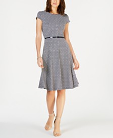 Jessica Howard Petite Belted Fit & Flare Dress