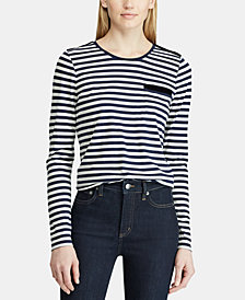 Lauren Ralph Lauren Petite Velvet-Trim Pocket T-Shirt