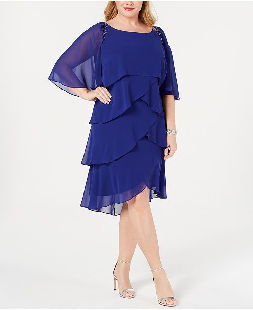 Plus Size Embellished Tiered Capelet Dress