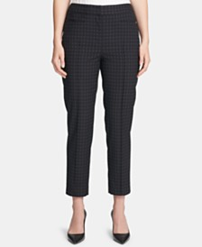 DKNY Windowpane-Print Ankle Pants