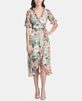 d6b6ebf8599f kensie Ruffled Floral-Print Wrap Dress