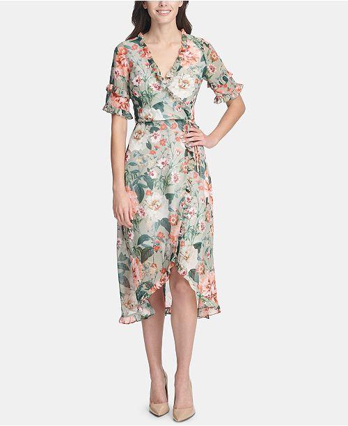 kensie Ruffled Floral-Print Wrap Dress