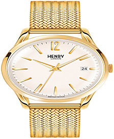 Henry London Westminster Ladies 39mm Gold Stainless Steel Mesh Bracelet strap Watch with Gold Stainless Steel Casing
