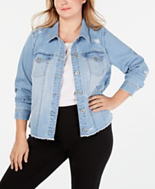 Style & Co Plus Size Destructed Jean Jacket, Created for Macy's