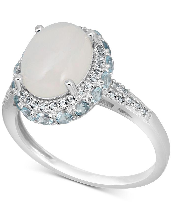 Macy's - Opal (3 ct. t.w.) & White Topaz (1-3/4 ct. t.w.) Ring in Sterling Silver
