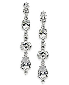 Eliot Danori Silver-Tone Crystal Linear Earrings, Created for Macy's