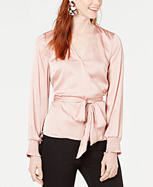 Bar III Smocked Surplice Wrap Blouse, Created for Macy's