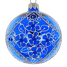 "Shiny Soft Blue 4 Pc Set of Mouth Blown & Hand Decorated European 3.25"" Round Holiday Ornaments"