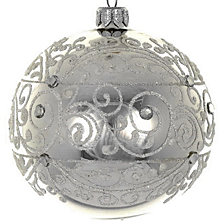 "Shiny Silver 4 Pc Set of Mouth Blown & Hand Decorated European 4"" Round Holiday Ornaments"
