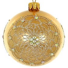 "Gold metallic 4 Pc Set of Mouth Blown & Hand Decorated European 4"" Round Holiday Ornaments"