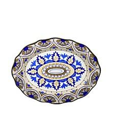 "Bimini Collection 18"" Wavy Stoneware Platter"
