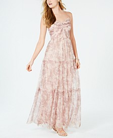 Printed Ruched Chiffon Gown
