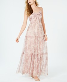 Adrianna Papell Printed Ruched Chiffon Gown