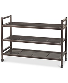 Heavy-Duty Stackable 3-Tier Metal Shoe Rack with Mesh Shelves