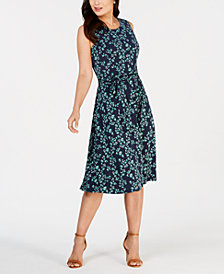 Charter Club Petite Belted Floral Midi Dress, Created for Macy's