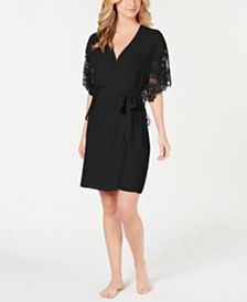 I.N.C. Lace-Sleeve Chiffon Wrap Robe, Created for Macy's