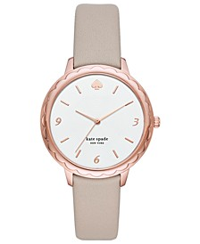 Women's Scallop Gray Leather Strap Watch 38mm