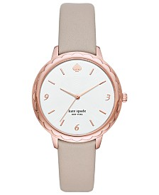 kate spade new york Women's Scallop Gray Leather Strap Watch 38mm