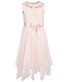 Pink & Violet Big Girls Embellished Fairy Hem Dress