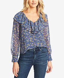 1.STATE Ruffled Floral-Print Top