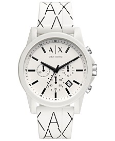 A|X Armani Exchange Men's Chronograph Black & White Silicone Strap Watch 44mm