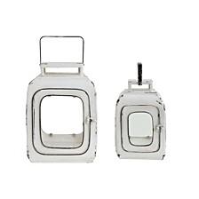 Distressed White Metal Lanterns, Set of 2