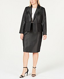 Plus Size Shiny One-Button Skirt Suit