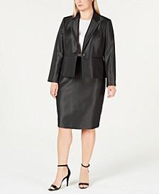 Plus Size Shiny One-Button Skirt Suit