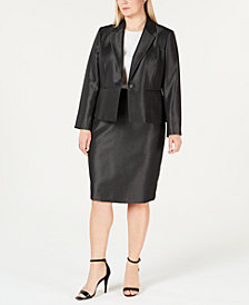 Le Suit Plus Size Shiny One-Button Skirt Suit