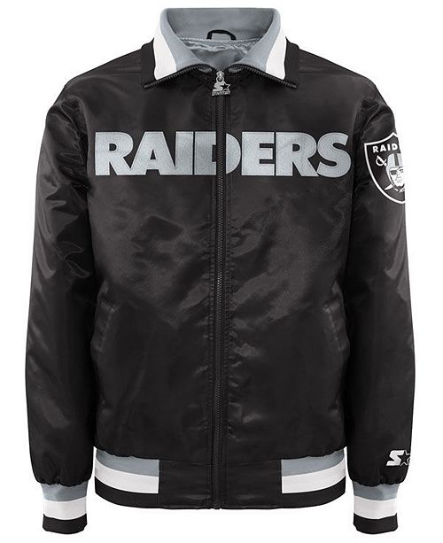 9f508fafa78 G-III Sports Men s Oakland Raiders Starter Captain II Satin Jacket ...