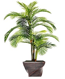 "93.5"" Tall Palm Tree Artificial Indoor/ Outdoor Lifelike Faux in Fiberstone Planter"