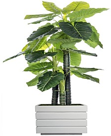 "Laura Ashley 78"" Tall Indoor-Outdoor Elephant Ear Plant Artificial Indoor/ Outdoor Decorative Faux in Fiberstone Planter"