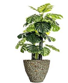 """Laura Ashley 85.5"""" Tall Indoor-Outdoor Monstera Ceriman Artificial Indoor/ Outdoor Lifelike Faux in Fiberstone Planter"""