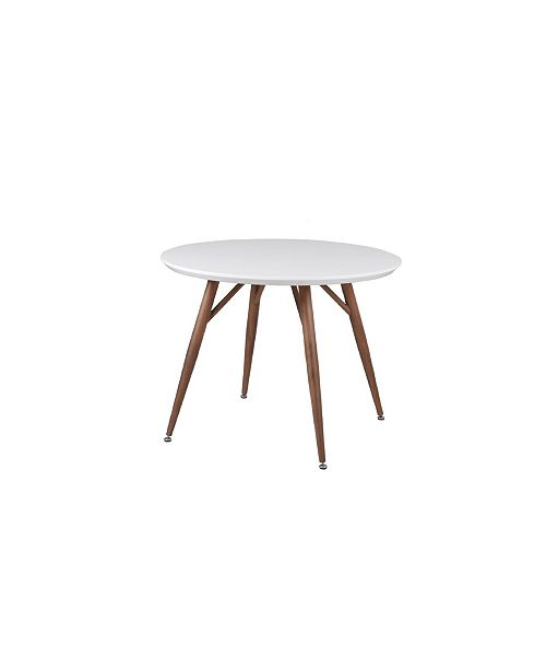 New Spec Inc Sorrenta Mid Century Round Glossy Dining Table
