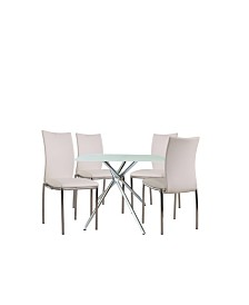 "Square 36"" Bistro Dining Table with Leatherette Chair Collection Set of 5 Pieces"