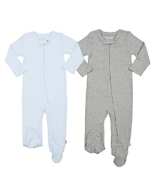 finn + emma 100% Organic Cotton Basic Footies, 2-Piece Set