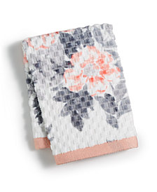 """Martha Stewart Collection Texture Bouquet Cotton 13"""" x 13"""" Wash Towel, Created for Macy's"""