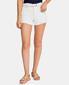 Sofia Cotton Distressed Raw-Hem Shorts