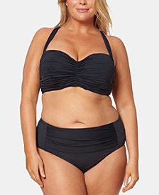 Bleu By Rod Beattie Plus Size Shirred Underwire Bikini Top & High-Waist Swim Bottoms
