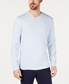 Tasso Elba Men's Supima® Blend Knit V-Neck Long-Sleeve T-Shirt, Created for Macy's