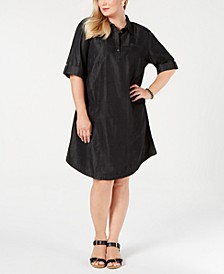 Plus Size Cotton Short-Sleeve Chambray Shirtdress, Created for Macy's