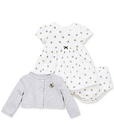 Little Me Baby Girls 3-Pc. Busy Bee Cotton Dress, Cardigan & Diaper Cover Set